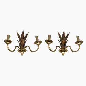 Bronze and Brass Palm Tree Sconces, 1970s, Set of 2