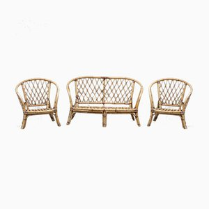 Vintage Rattan Armchairs and Sofa Set, 1970s