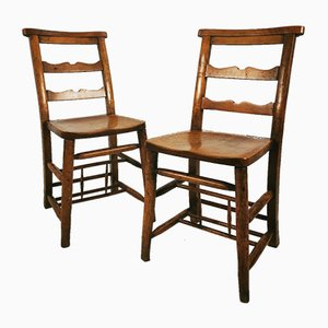 Antique Elm Chapel Chairs, Set of 2
