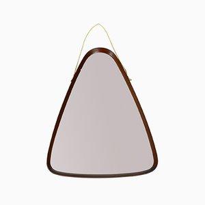 Espejo de pared italiano triangular de teca, años 60