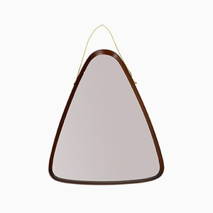 Italian Teak Triangular Wall Mirror, 1960s