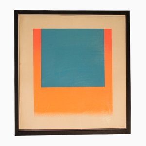 Blue and Red Orange Serigraph by Geiger Rupprecht, 1960s