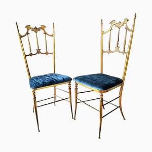 Mid-Century Italian Brass Side Chairs from Chiavari, 1950s, Set of 2