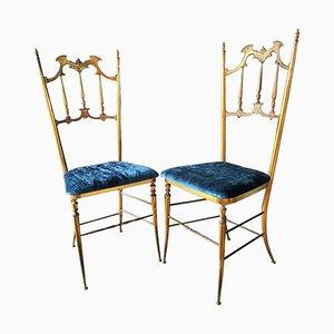 Mid-Century Italian Brass Side Chairs from Chiavari, 1950s, Set of 2