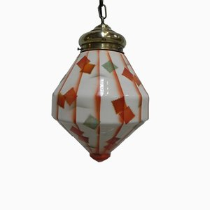 Art Deco Glass Ceiling Lamp, 1930s