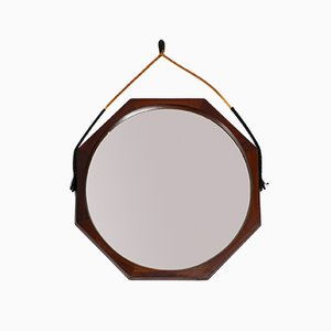 Large Italian Teak Rope Wall Mirror, 1960s