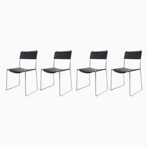 Esszimmerstühle mit Lederbezug von Giandomenico Belotti für Alias, 1980er, 4er Set