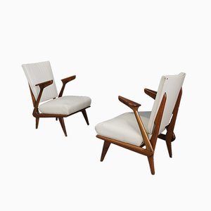 Mid-Century Hardwood Lounge Chairs by Scapinelli Giuseppe, 1950s, Set of 2