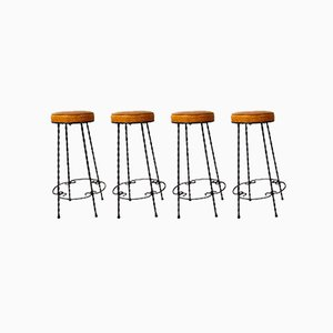 Wrought Iron Bar Stools, 1950s, Set of 4