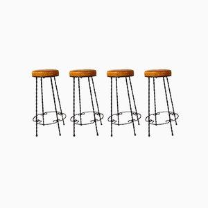 Wrought Iron Bar Stools, 1950s, Set of 4