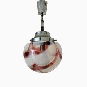 Lampada da soffitto vintage in vetro e acciaio di Mazzega, anni '70