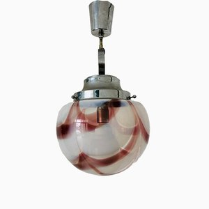 Vintage Glass and Steel Ceiling Lamp from Mazzega, 1970s