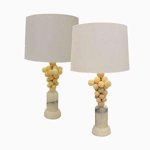 Lampes de Bureau Vintage en Albâtre, années 70, Set de 2