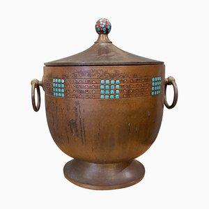 Art Nouveau Style Patinated Brass Jar, 1920s