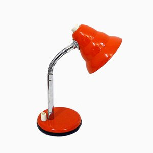 Mid-Century Orange Lacquered Metal and Chrome Table Lamp, 1960s