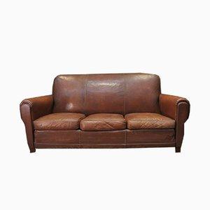 Sofá de tres plazas vintage de cuero marrón, años 50