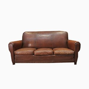 Vintage Brown Leather 3-Seater Sofa, 1950s