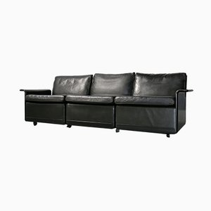 Black Leather 3-Seater Sofa by Dieter Rams for Vitsœ, 1980s