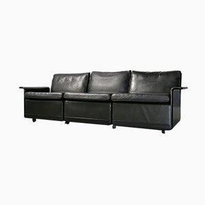Sofá de tres plazas de cuero negro de Dieter Rams para Vitsœ, años 80