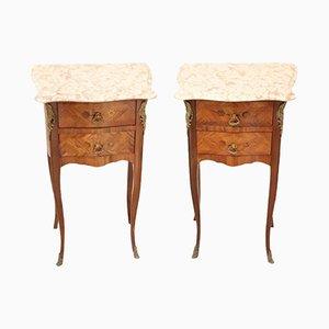 Tables de Chevet Vintage en Bois à Incrustations et Bronze Doré, Italie, années 50, Set de 2