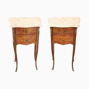 Vintage Italian Inlaid Wood and Gilt Bronze Nightstands, 1950s, Set of 2