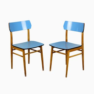 Vintage Blue Formica and Wood Dining Chairs, 1960s, Set of 2