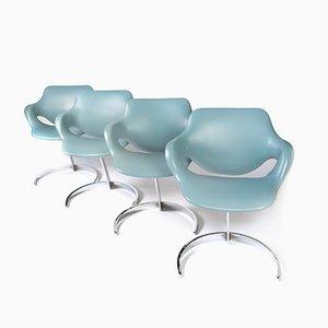 Juego de mesa de comedor Scimitar era espacial y sillas de Boris Tabacoff para Mobilier Modular Moderne, años 70
