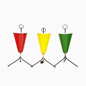 Lámparas de mesa en amarillo, rojo y verde, años 50. Juego de 3