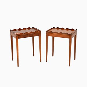 Yew Wood Side Tables, 1950s, Set of 2
