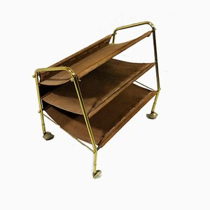 Brass and Suede Leather Magazine Rack, 1960s
