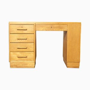 Art Deco Blond Oak Desk, 1930s