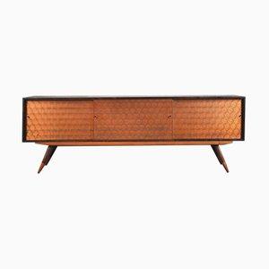 Italienisches Mid-Century Sideboard aus Kupfer & Nussholz, 1960er