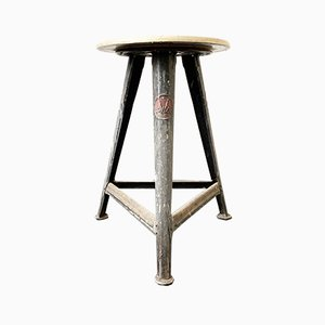 Vintage Metal and Wood Stool by Robert Wagner for Rowac, 1930s