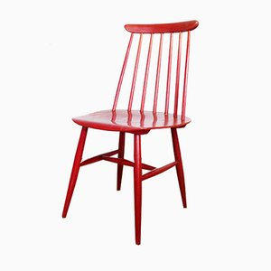 Scandinavian Wooden Red Dining Chair by Ilmari Tapiovaara, 1960s