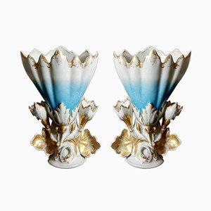 Antike französische Paris Hochzeitsvasen aus Porzellan, 2er Set