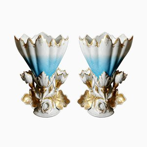 Antique French Porcelain de Paris Wedding Vases, Set of 2