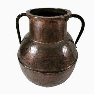 Antiker französischer Behälter aus gehämmertem Kupfer
