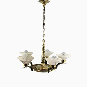 Art Deco Bronze and Alabaster Ceiling Lamp