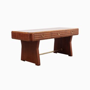 Large Walnut Veneered Directorate Desk, 1950s