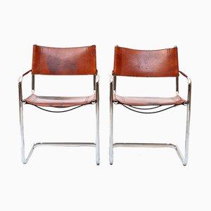 Chaise de Salle à Manger Modèle MG5 Vintage en Cuir Cognac par Marcel Breuer pour Gavina
