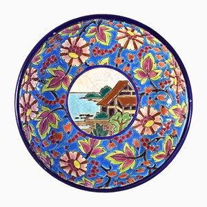 Piatto smaltato vintage in ceramica di Longwy