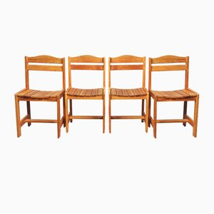 French Pinewood Dining Chairs, 1970s, Set of 4