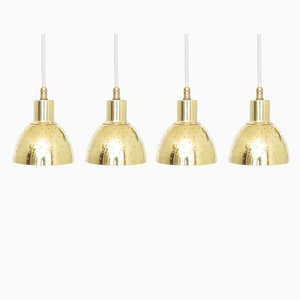Model Flora Brass Pendant Lamps from Hans-Agne Jakobsson AB Markaryd, 1960s, Set of 4