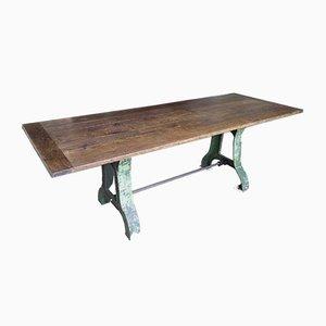 Mesa de comedor antigua de roble y hierro fundido