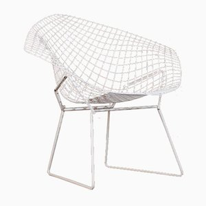 Chaise de Salle à Manger Diamond Blanche par Harry Bertoia pour Knoll Inc./Knoll International, 1952