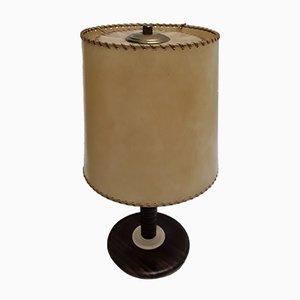 Vintage Tischlampe aus Palisander & Leder, 1920er