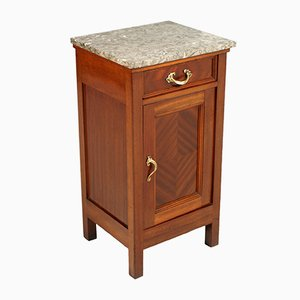 Antique Art Nouveau Italian Mahogany and Marble Nightstand, 1910s