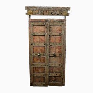 Antike indische bemalte & geschnitzte Holztür