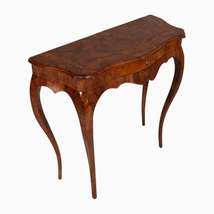 18th Century Baroque Style Italian Inlaid Cherrywood Console Table from Manifattura Ferrarese