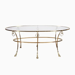 French Brass and Glass Coffee Table, 1960s